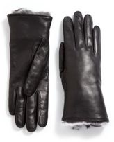 GGF Fur-Trimmed Leather Gloves