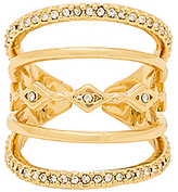 Luv Aj Mixed Pave Evil Eye Ring in Metallic Gold. - size M/L (also in S/M)