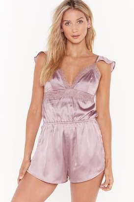 Nasty Gal Womens Come Back to Bed Satin Pyjama Playsuit - purple - 8