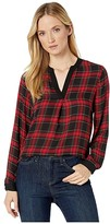 Vince Camuto Long Sleeve Elegant Tartan Henley Tunic (Rich Black) Women's Blouse
