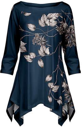 Lily Women's Tunics NVY - Navy & Gray Foliage Handkerchief Tunic - Women & Plus