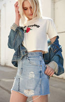 LA.EDIT Destructed Denim Mini Skirt