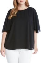 Karen Kane Plus Size Women's Crepe Cape Sleeve Top