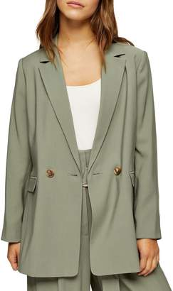 Topshop PETITE Khaki Double-Breasted Lined Blazer