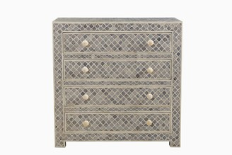 Empress Homewares Arabesque Bone Inlay 4 Drawer Chest Grey