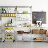 Crate & Barrel MAX Pantry Chrome Modular Shelving Set. 1 Chrome 6-Shelf Unit, 1 Chrome 3-Shelf Unit, 1 4-Drawer Cart with White Top.