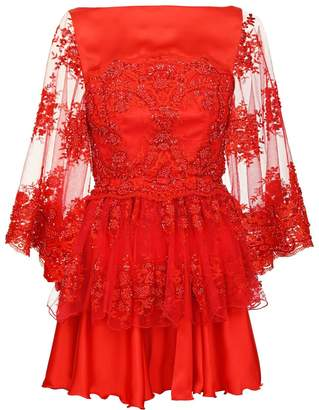 Jiri Kalfar Red Cocktail Dress With Embroidery