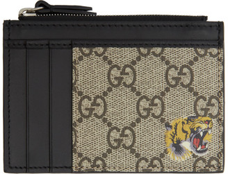 Gucci Black and Beige GG Tiger Card Holder