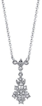 "Downton Abbey Silver-Tone Crystal Petite Belle Epoch Starburst Drop Pendant Necklace 16"" Adjustable"