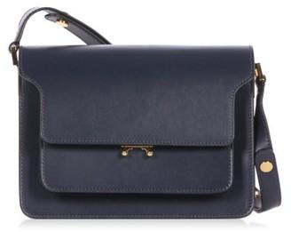 Marni Trunk Medium Leather Shoulder Bag - Navy