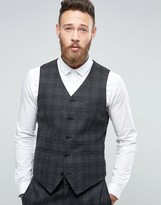 Asos Slim Suit Vest In Charcoal With Black Check