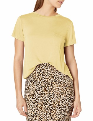 Tresics Women's Trendy Basic Junior Short Sleeve Crew Neck Boxy Cropped Top