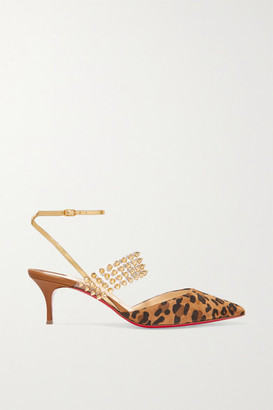 Christian Louboutin Levita 55 Spiked Pvc, Mirrored-leather And Leopard-print Suede Pumps - Leopard print
