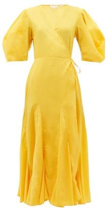 Rhode Resort Fiona Puff-sleeve Cotton Wrap Dress - Womens - Yellow