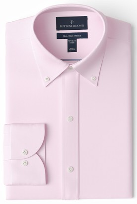 Buttoned Down Slim Fit Button Collar Solid Non-Iron Dress Shirt Light Pink/Pockets 17.5 Inches Neck 37 Inches Sleeve
