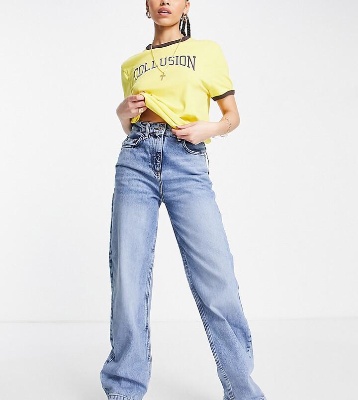 Collusion x014 dad jeans in heavy vintage wash