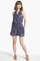 Trouve Pleated Romper Purple Tribal Print Small