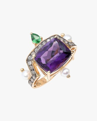 Dorion Soares Amethyst Emerald Diamond Ring