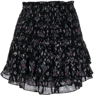 Etoile Isabel Marant Ruched Layered Leopard Print Skirt