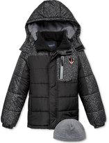 London Fog 2-Pc. Hat & Hooded Puffer Jacket Set, Boys (8-20)