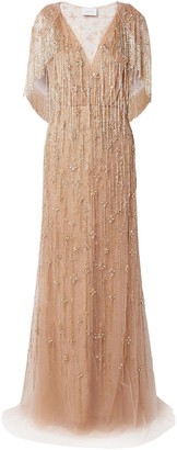 Marchesa Bead And Crystal-embellished Embroidered Tulle Gown