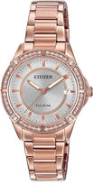 Citizen Drive from Eco-Drive Womens Crystal-Accent Rose-Tone Stainless Steel Bracelet Watch FE6063-53A