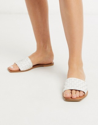 ASOS DESIGN Faultless leather woven mule sandals in white