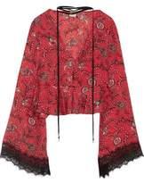 Cinq à Sept Jemma Cropped Lace-Trimmed Printed Silk Top