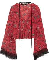 Cinq à Sept Jemma Lace-Trimmed Printed Silk Peplum Top