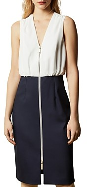 Ted Baker Annise Zip-Front Color-Blocked Sheath Dress