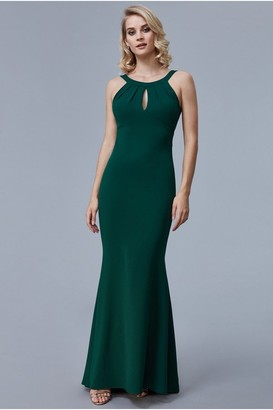 Goddiva Emerald Halter Open Back Frill Detail Maxi Dress