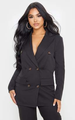 PrettyLittleThing Petite Black Woven Oversized Longline Button Detail Blazer