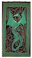 India Arts Celtic Dragon Tab Top Curtain-Drape-Door Panel-Green
