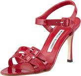 Manolo Blahnik Domanda Patent Buckled Mid-Heel Sandal, Raspberry