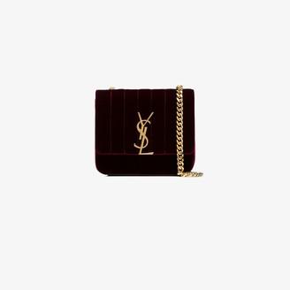 Saint Laurent burgundy Vicky small velvet cross body bag