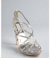 Badgley Mischka metallic silver snakeskin embossed strappy 'Adonis' sandals