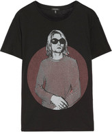 R 13 Kurt Boy Printed Cotton And Cashmere-blend T-shirt - Black