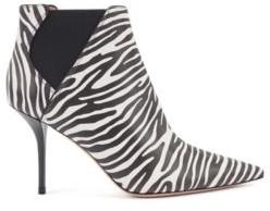 HUGO BOSS High Heeled Ankle Boots In Zebra Print Leather - Black