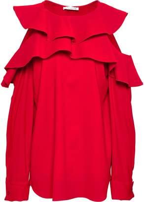 Oscar de la Renta Cold-shoulder Ruffled Stretch-silk Blouse