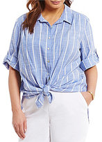 Westbound Plus Roll Sleeve Tie-Front Shirt