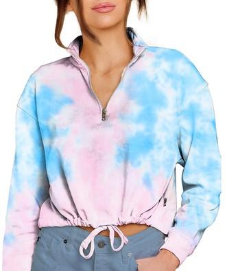 Steve Madden Tie-Dye Cropped Sweatshirt Pastel Multi