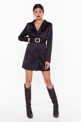 Nasty Gal Womens Gossip Pearl Satin Blazer Dress - Black - 8