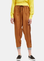 Von Sono Women's Dropped Crotch Silk Track Pants in Brown