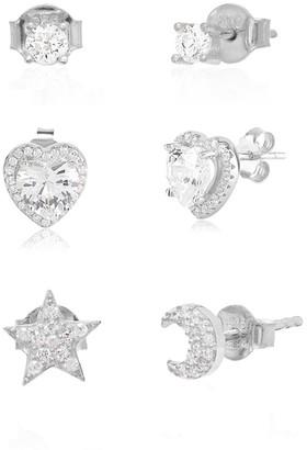 Gab+Cos Designs Sterling Silver CZ Mix & Match Stud Earring Set