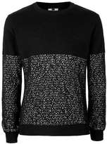 Topman Black and White Pixel Print Slim Fit Sweater