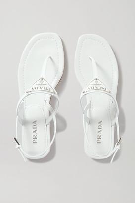 Prada Logo-embellished Leather Sandals - White