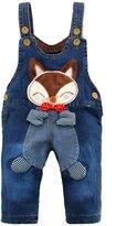 Kidscool Baby Cotton Denim 3D Cartoon Fox Decoration Overalls