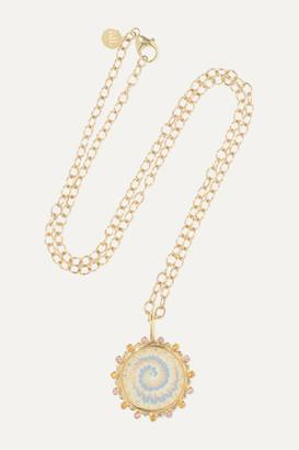 Marlo Laz Tie Die 14-karat Gold Sapphire Necklace - one size
