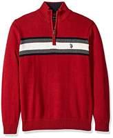 U.S. Polo Assn. Men's Tri-Color Chest Stripe 1/4 Zip Sweater