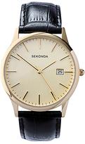 Sekonda 3697.27 Date Leather Strap Watch, Black/cream